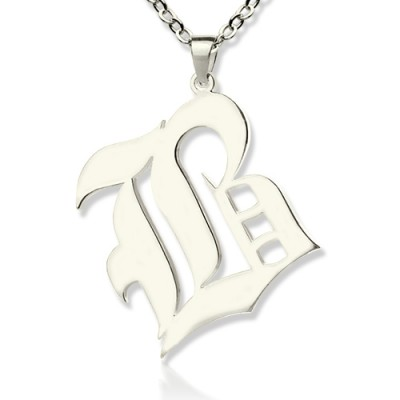 Personalized Initial Letter Charm Old English Sterling Silver - Handmade By AOL Special