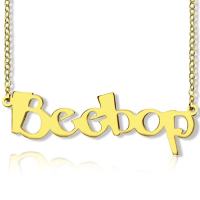 Solid Gold 18ct Personalized Beetle font Letter Name Necklace - Handmade By AOL Special