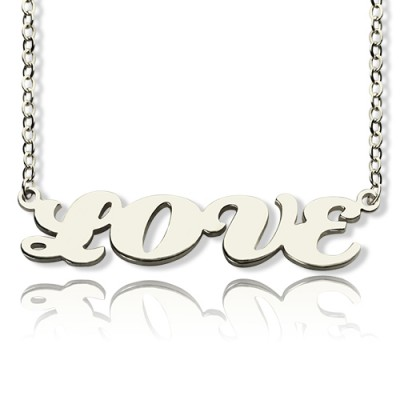 Capital Name Plate Necklace Sterling Silver - Handmade By AOL Special