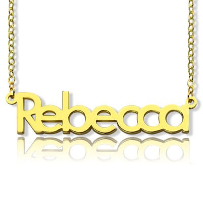 "Nameplate Necklace 18ct Gold Plating ""Rebecca"" - Handmade By AOL Special"