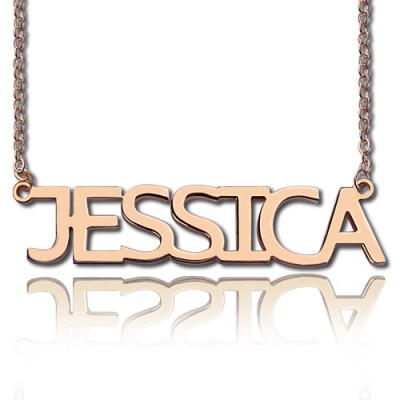 Solid Rose Gold Plated Jessica Style Name Necklace - Handmade By AOL Special