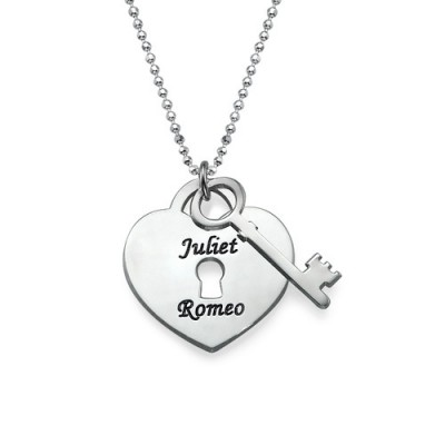 Personalized Heart Lock with Key Pendant - Handmade By AOL Special