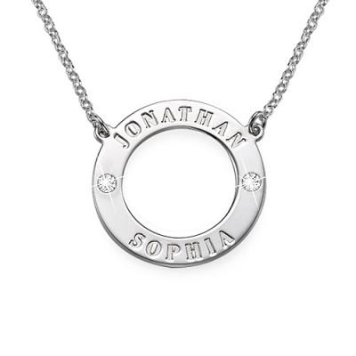 Personalized Silver Karma Necklace with Swarovski - Handmade By AOL Special