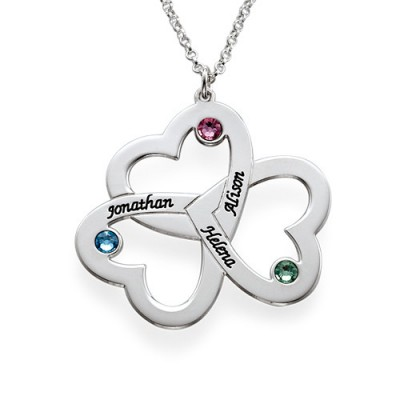 Personalized Triple Heart Necklace - Handmade By AOL Special