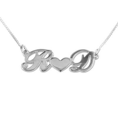 Personalized Silver Couples Heart Necklace - Handmade By AOL Special
