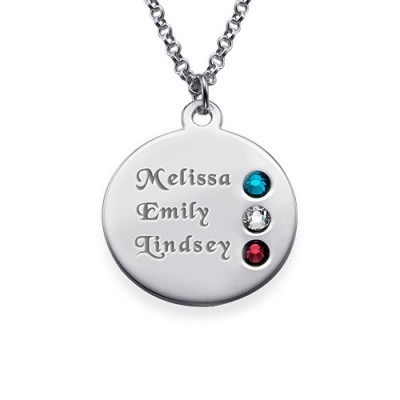 Silver Birthstone Necklace for Mum Inscriptions (1-3) - Handmade By AOL Special
