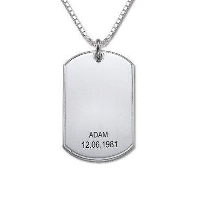 Silver Script Font Dog Tag Necklace - Handmade By AOL Special