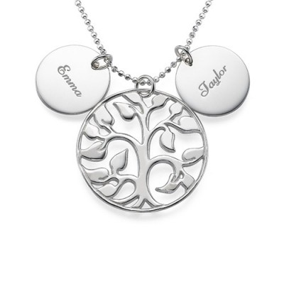 Engraved Disc Cut Out Family Tree Necklace - Handmade By AOL Special
