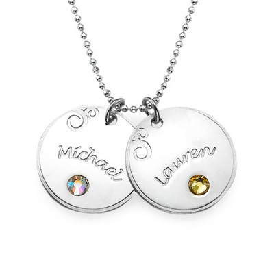 Sterling Silver Engraved Necklace with Birthstone - Handmade By AOL Special