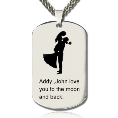 Couple Love Dog Tag Name Necklace - Handmade By AOL Special