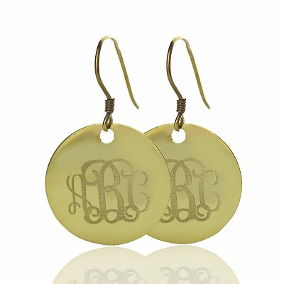 Solid 18ct Gold Circle Signet Monogram Earring - Handmade By AOL Special