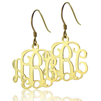 18ct Solid Gold Personalized Monogram Earring - Handmade By AOL Special