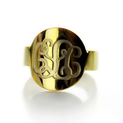 Solid Gold Engraved Monogram Itnitial Ring - Handmade By AOL Special