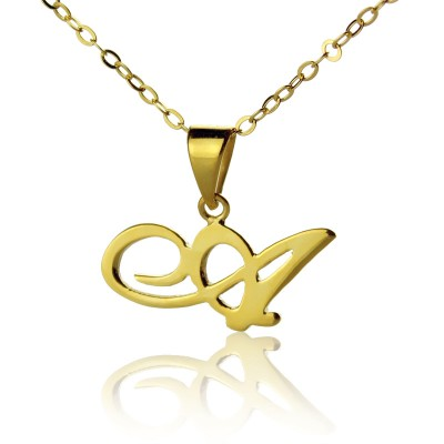 18ct Gold Plated Christina Applegate Initial Necklace - Handmade By AOL Special