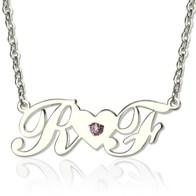Sterling Silver Double initials Necklace - Handmade By AOL Special