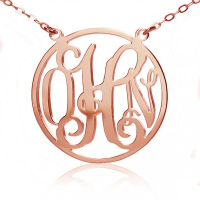 Circle 18ct Solid Rose Gold Initial Monogram Name Necklace - Handmade By AOL Special