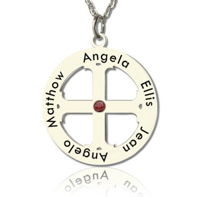 Family Circle Cross Name Necklace Silver - Handmade By AOL Special