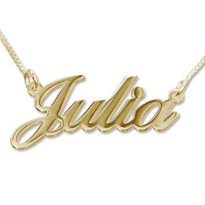 18ct Gold-Plated Silver Classic Name Necklace - Handmade By AOL Special