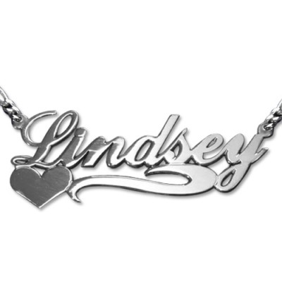 Double Thickness Side Heart Silver Name Necklace - Handmade By AOL Special