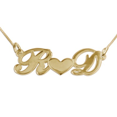 Couples Heart Necklace in 18ct Gold Plating - Handmade By AOL Special