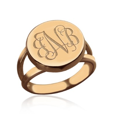 Rose Gold Circle Signet Monogram Ring - Handmade By AOL Special