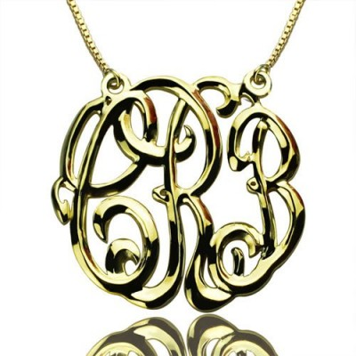 Celebrity Cube Premium Monogram Necklace Gifts 18ct Gold Plated - Handmade By AOL Special