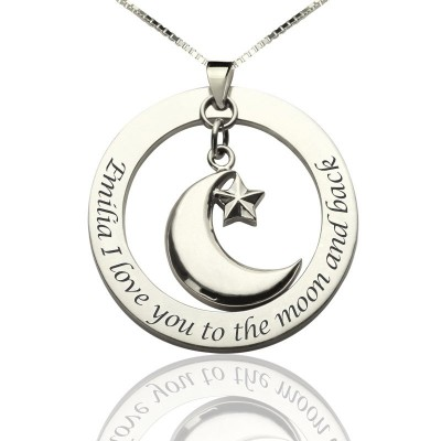 I Love You To The Moon and Back Moon Start Charm Pendant - Handmade By AOL Special