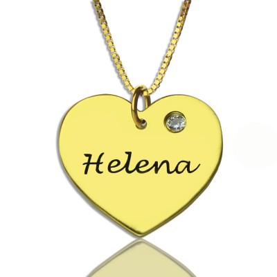 Simple Heart Necklace with Name Birhtstone 18ct Gold Plated - Handmade By AOL Special