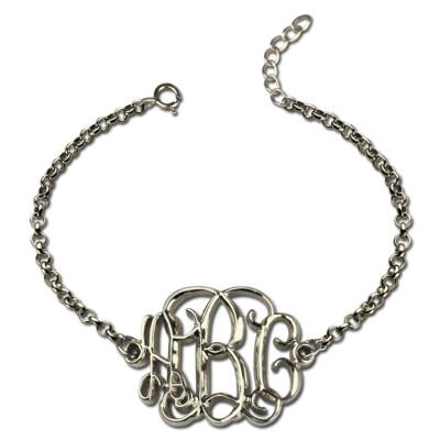 Celebrity Monogram Initial Bracelet Sterling Silver - Handmade By AOL Special