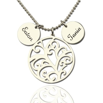 Family Tree Necklace with Custom Name Charm Silver - Handmade By AOL Special