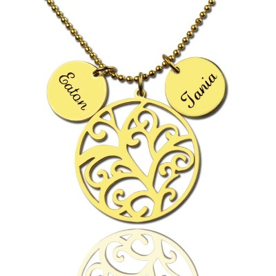Family Tree Necklace With Name Charm For Mom - Handmade By AOL Special