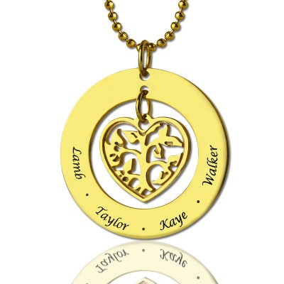 Circle Family Tree Pendant Necklace In 18ct Gold Plated - Handmade By AOL Special