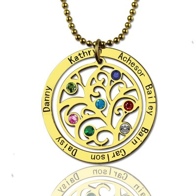 Family Tree Birthstone Necklace In 18ct Gold Plated - Handmade By AOL Special