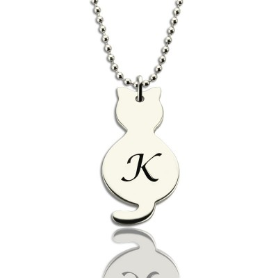 Personalized Tiny Cat Initial Pendant Necklace Silver - Handmade By AOL Special