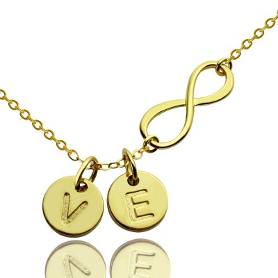 Infinity Necklace With Disc Initial Charm 18ct Gold Plated - Handmade By AOL Special
