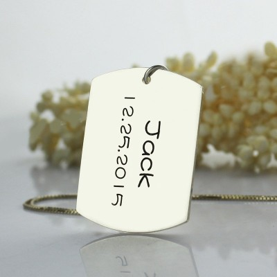 Personalized ID Dog Tag Bar Pendant with Name and Birth Date Silver - Handmade By AOL Special