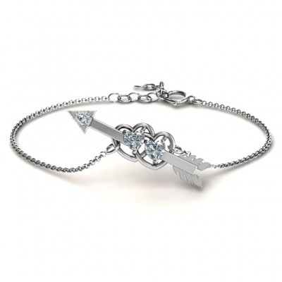 Double Heart with Arrow and Two Heart Stones Promise Bracelet - Handmade By AOL Special