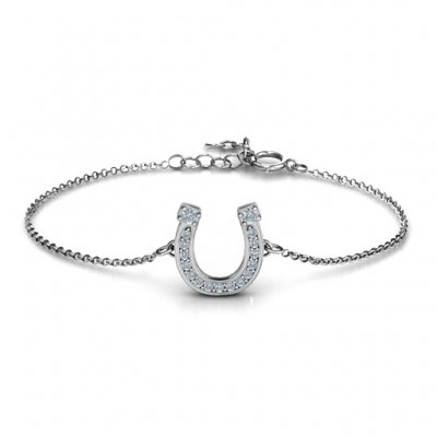 Horseshoe Bracelet with Two Stones and Accents - Handmade By AOL Special