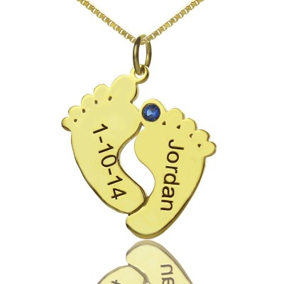 Birthstone Memory Baby Feet Charms with Date Name 18ct Gold Plated - Handmade By AOL Special