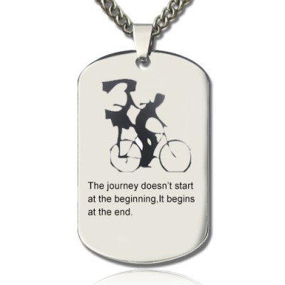 Couple Bicycle Dog Tag Name Necklace - Handmade By AOL Special