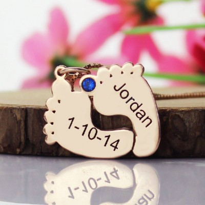 Engraved Baby Feet Imprint Necklace with Date Name 18ct Rose Gold Plated - Handmade By AOL Special