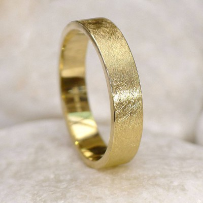 Mens Wedding Ring In 18ct Gold, Urban Finish - Handmade By AOL Special