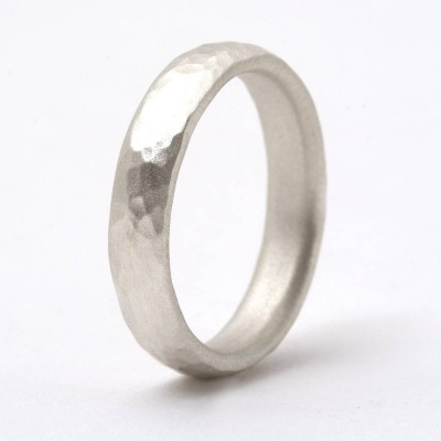 Thin Sterling Silver Hammered Ring - Handmade By AOL Special