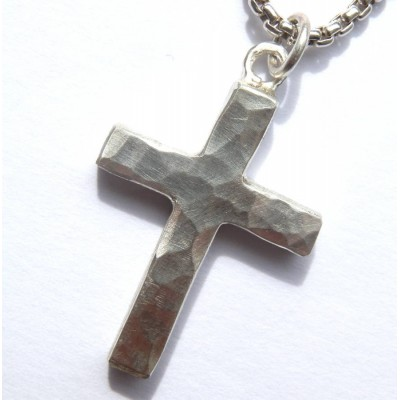 Chunky Hammered Silver Cross Necklace - Handmade By AOL Special