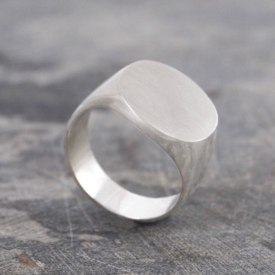 Mens Solid Silver/Gold Circular Signet Ring - Handmade By AOL Special