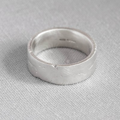 Sterling Silver Flat Sand Cast Wedding Ring - Handmade By AOL Special