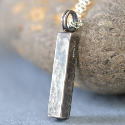 Handmade Blacksmiths Silver Hammered Block Necklace - Handmade By AOL Special
