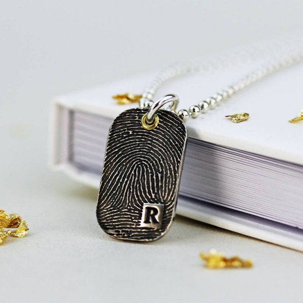 Inked Fingerprint Dog Tag Necklace - Handmade By AOL Special