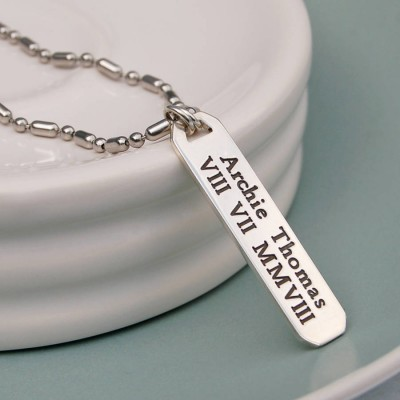Mens Personalized Silver Vertical Bar Necklace - Handmade By AOL Special