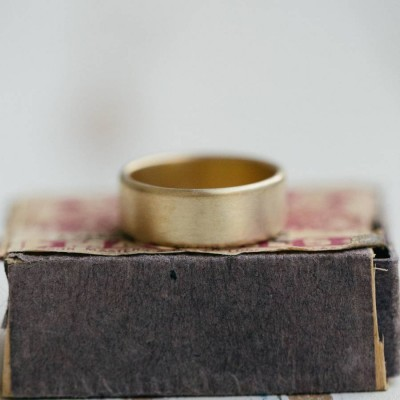 Mens Wide Brushed Pillow Wedding Ring 18ct Gold - Handmade By AOL Special